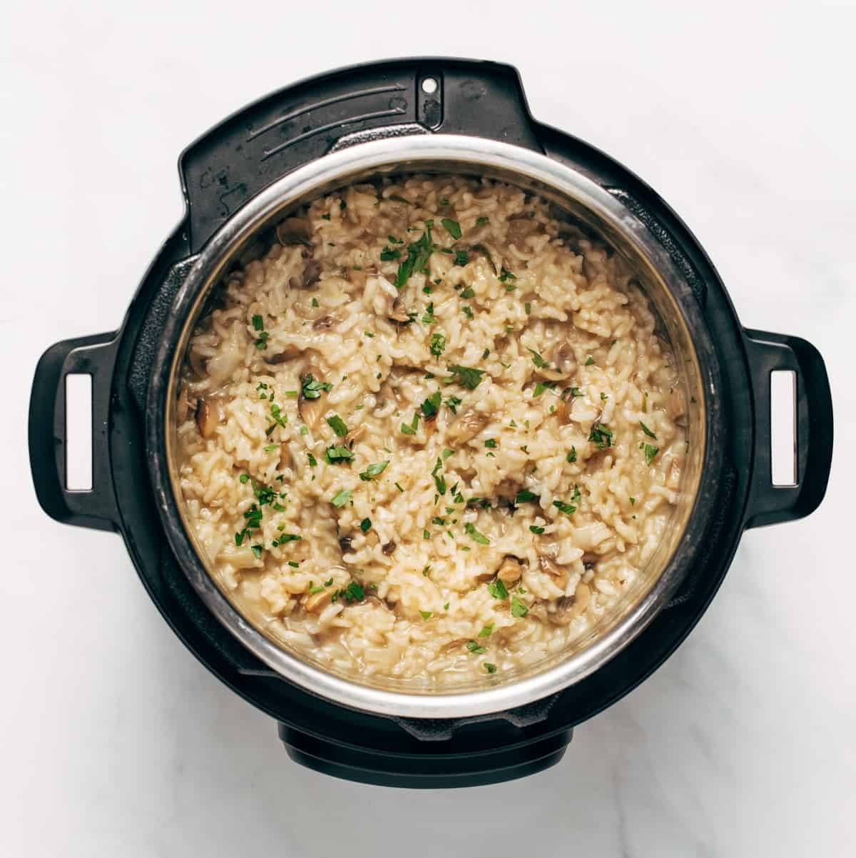 Cooked risotto in the instant pot