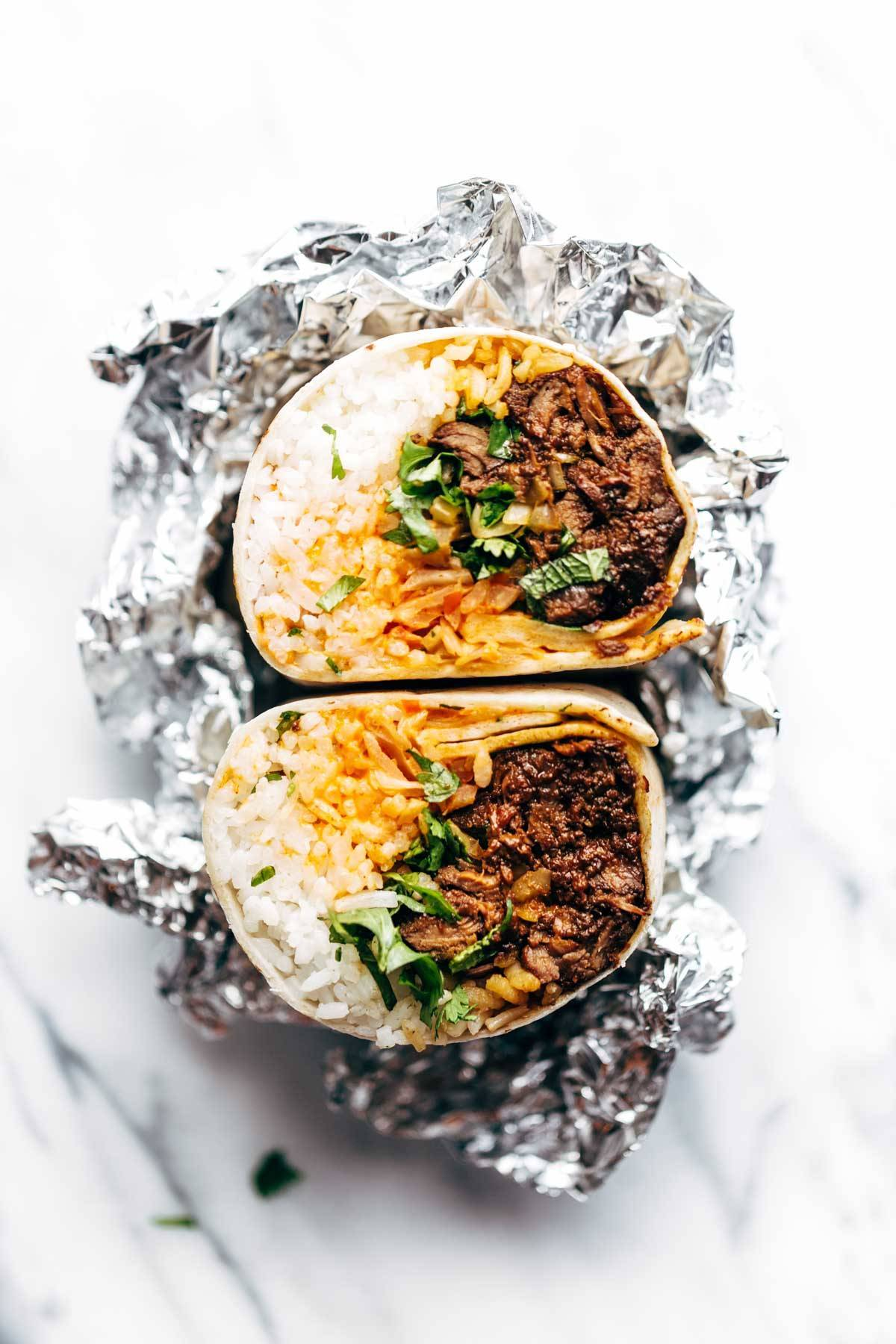 Korean BBQ Burrito wrapped in foil.