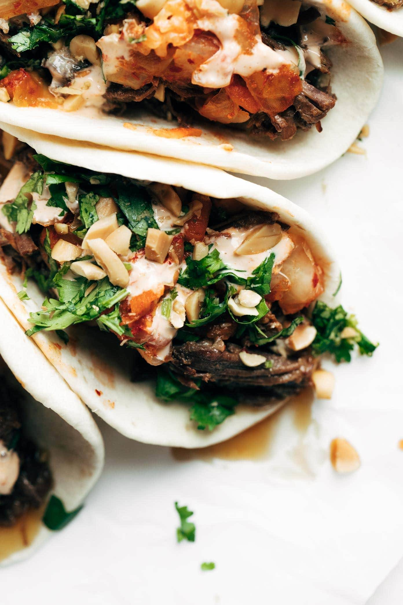Instant Pot Korean Beef Tacos close up.