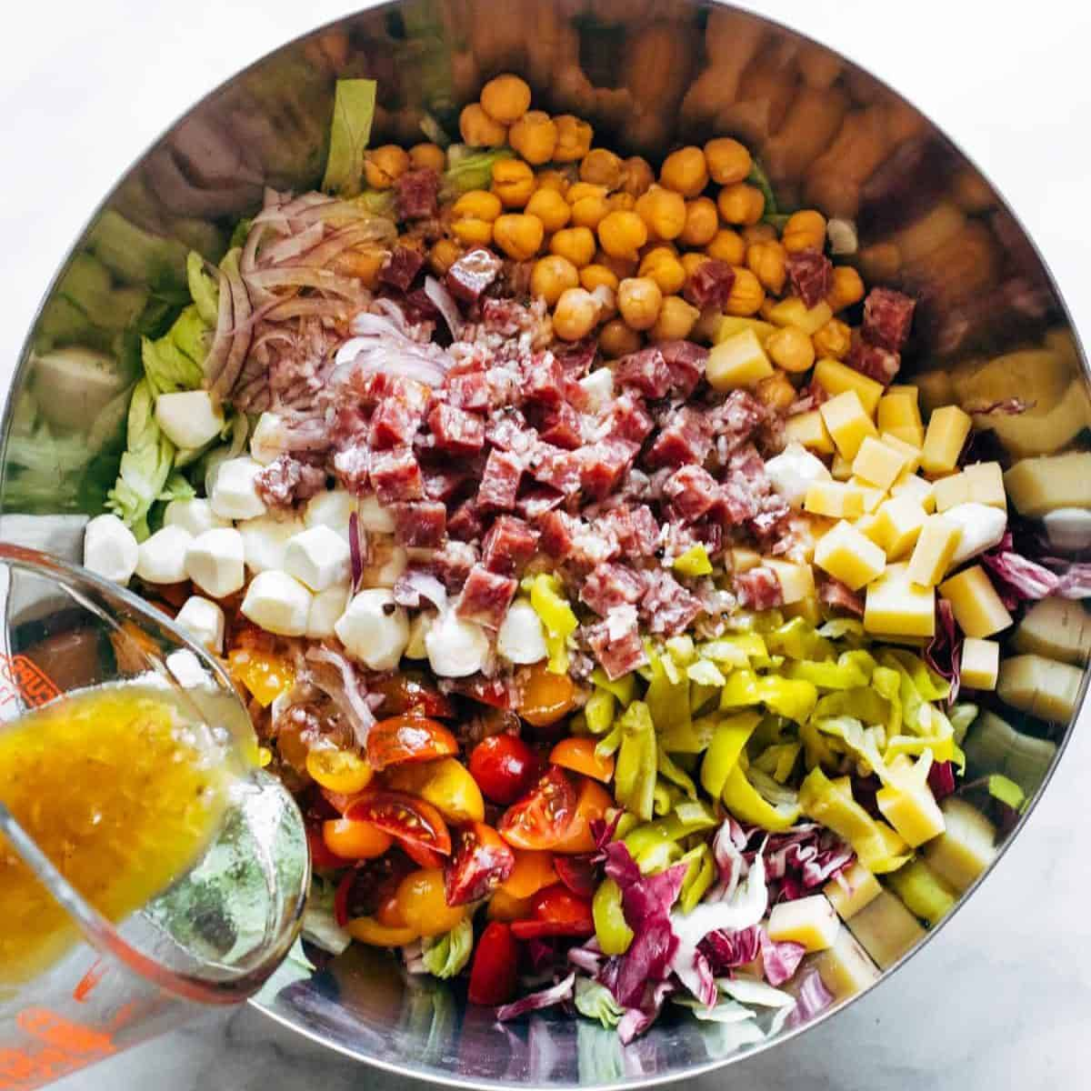 The LA chop salad in a bowl.