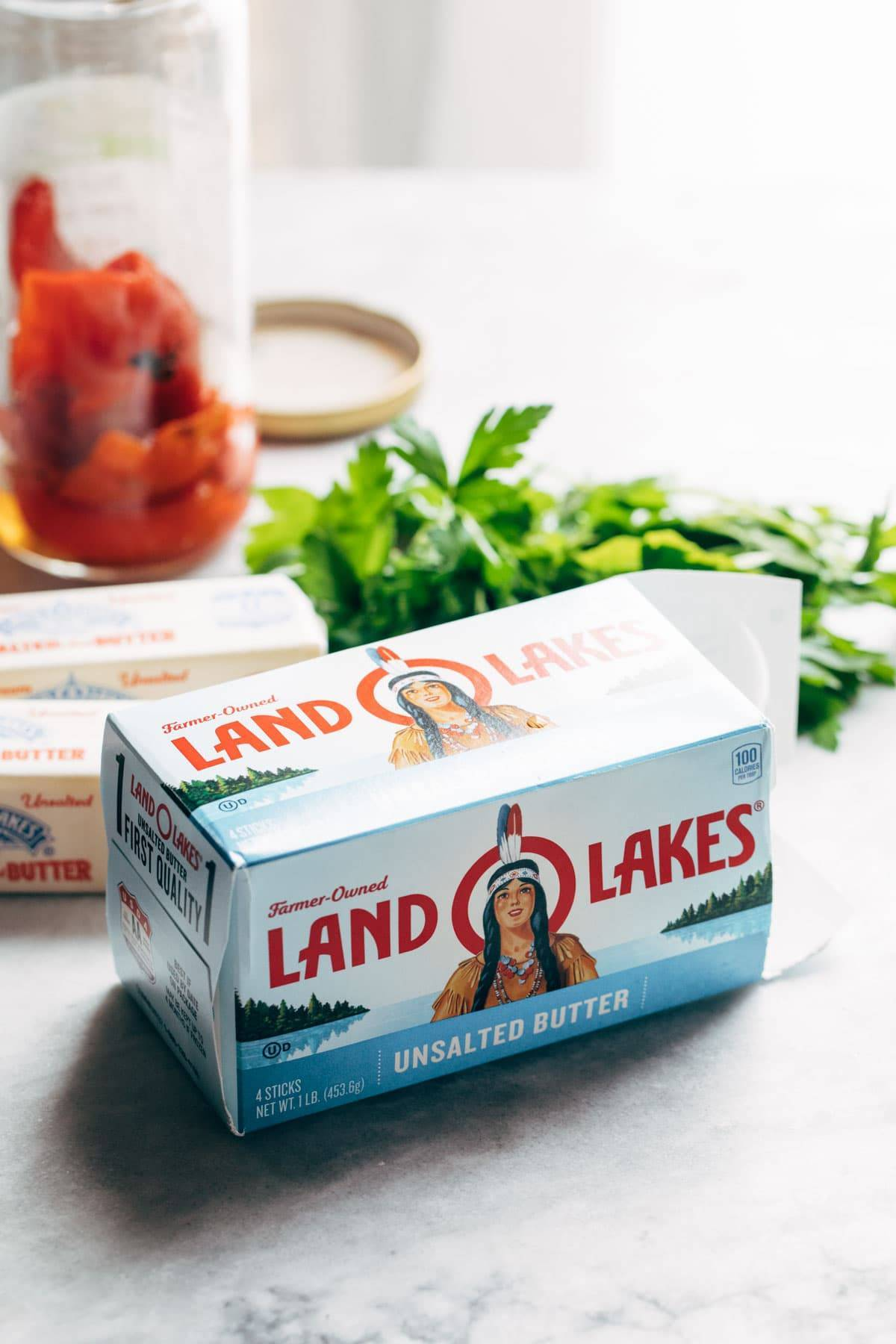 Land O'Lakes unsalted butter.