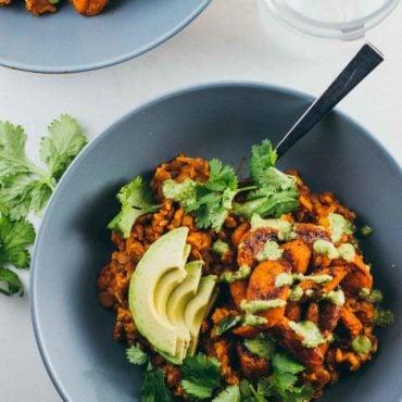 Lentil Curry Bowls with Cashew Cilantro Sauce
