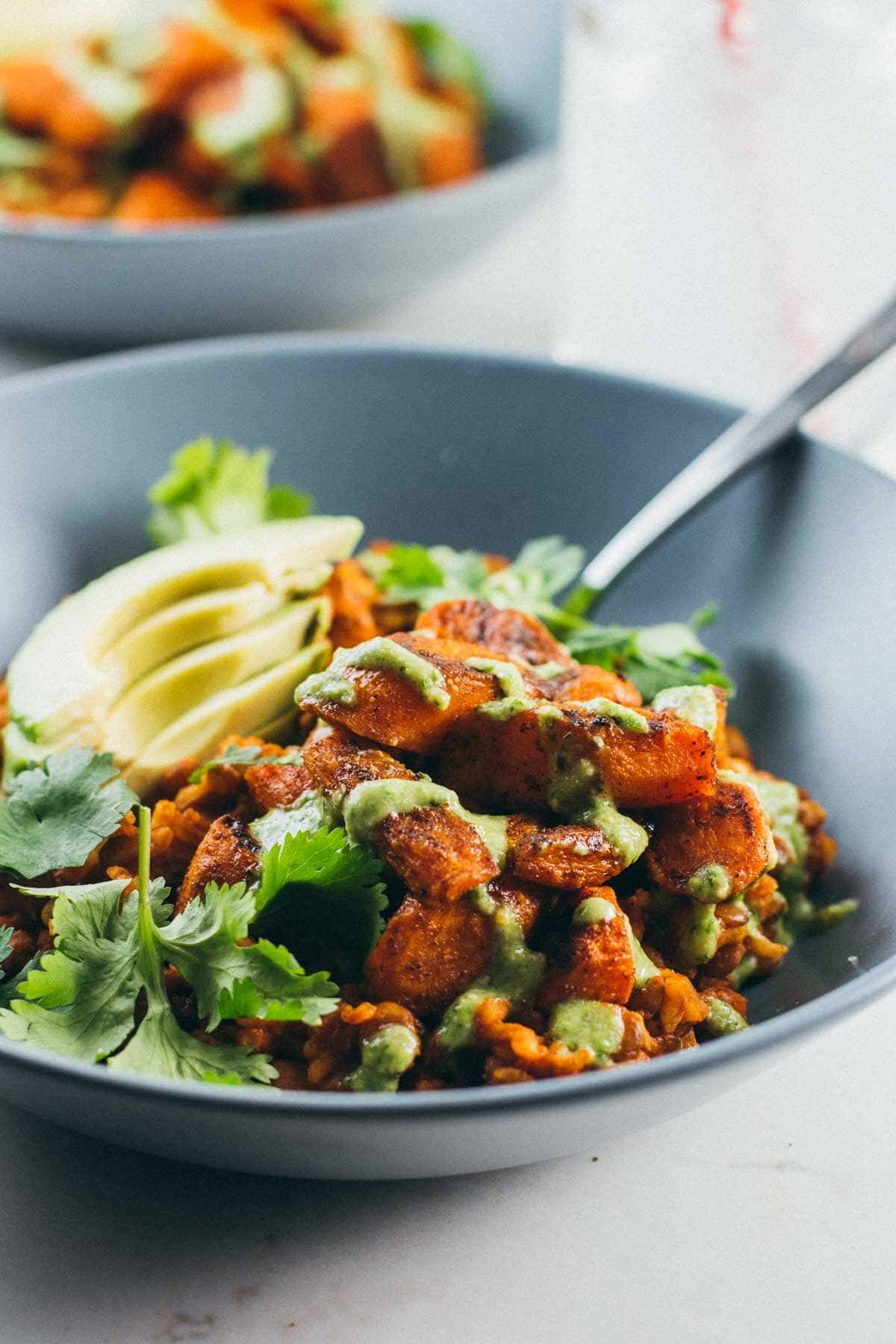 Lentil Curry Bowl with a fork.