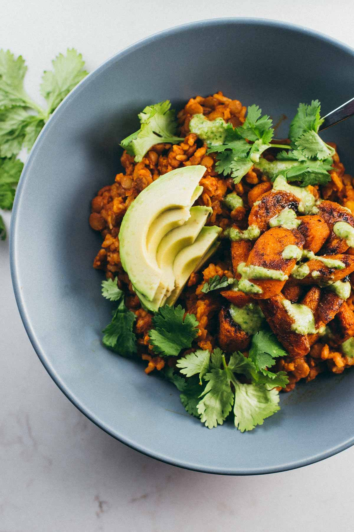 Lentil Curry Bowls with Cashew Cilantro Sauce - powerhouse comfort food!