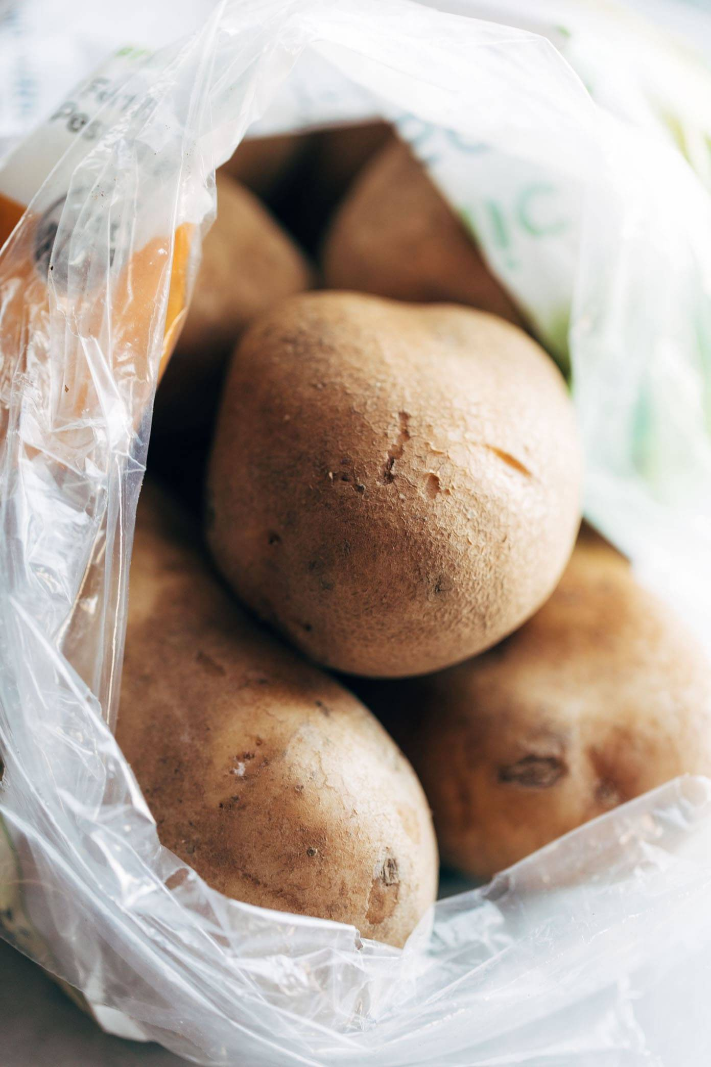 Potatoes in a plastic bag.