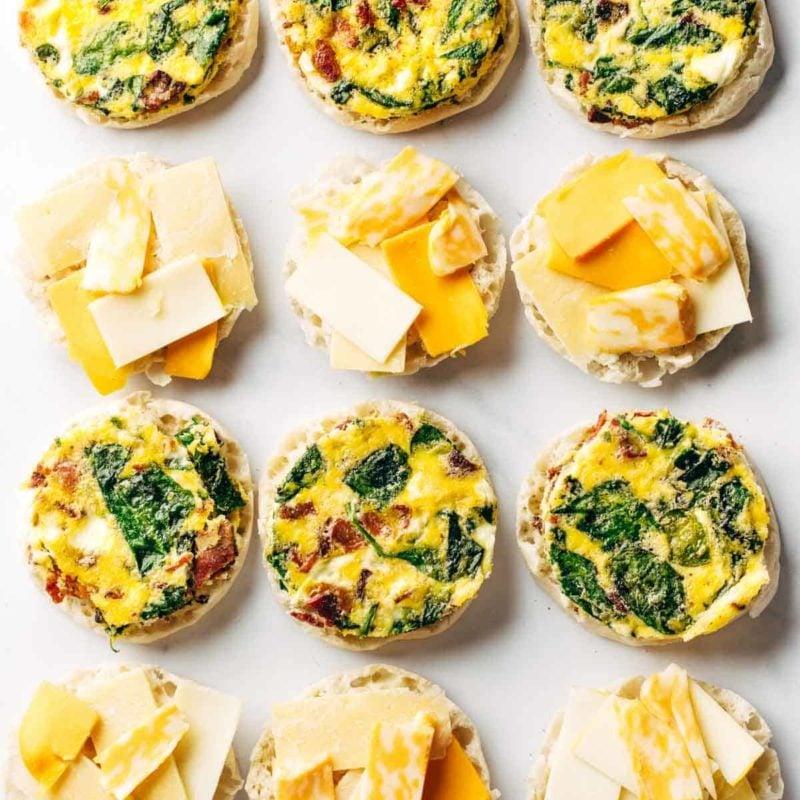 Breakfast sandwiches being prepped.