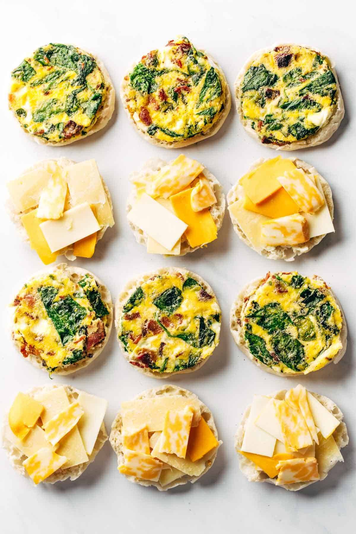 Breakfast sandwiches prepped for meal prep.