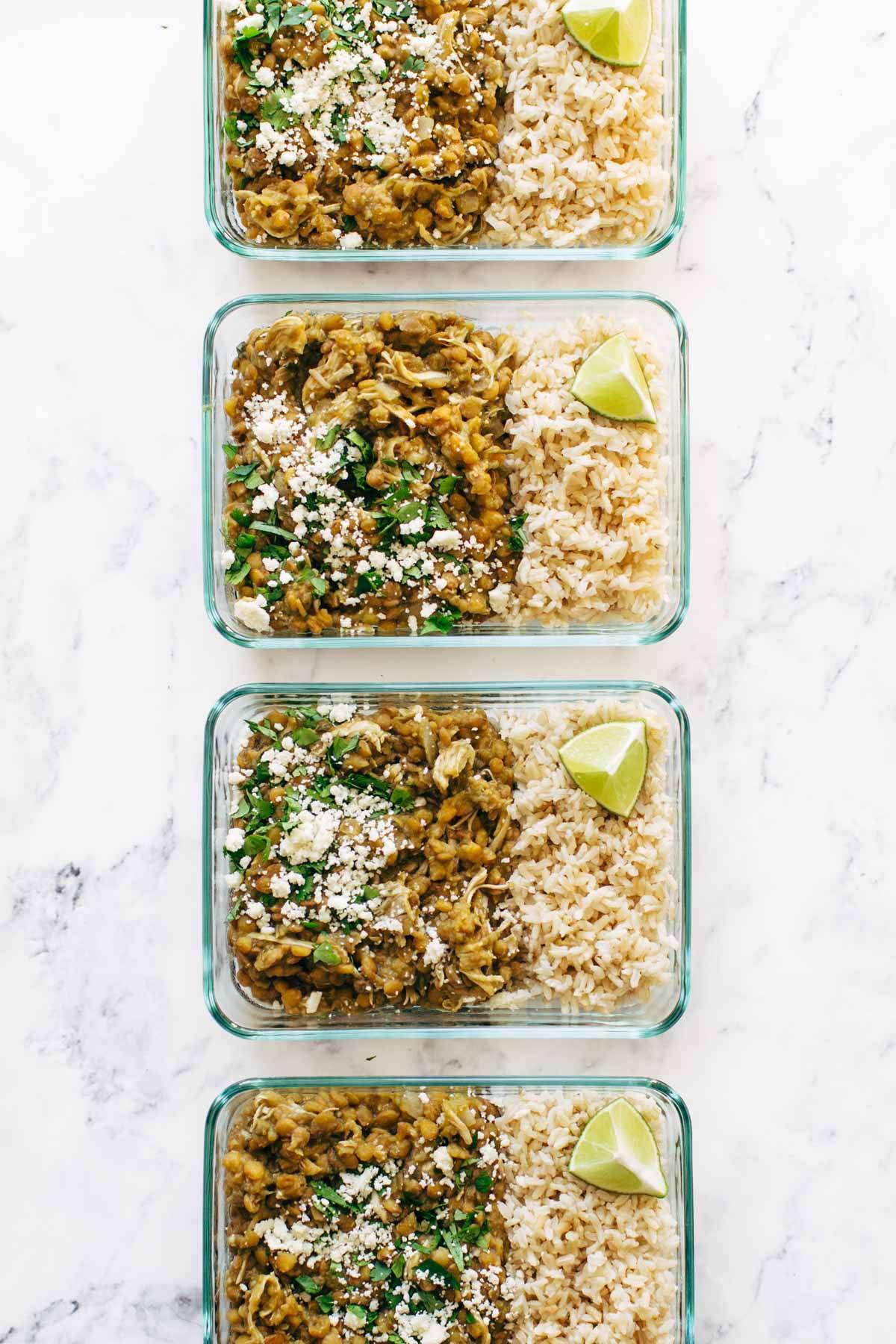 Cilantro Lime Chicken and Lentils in meal prep containers.