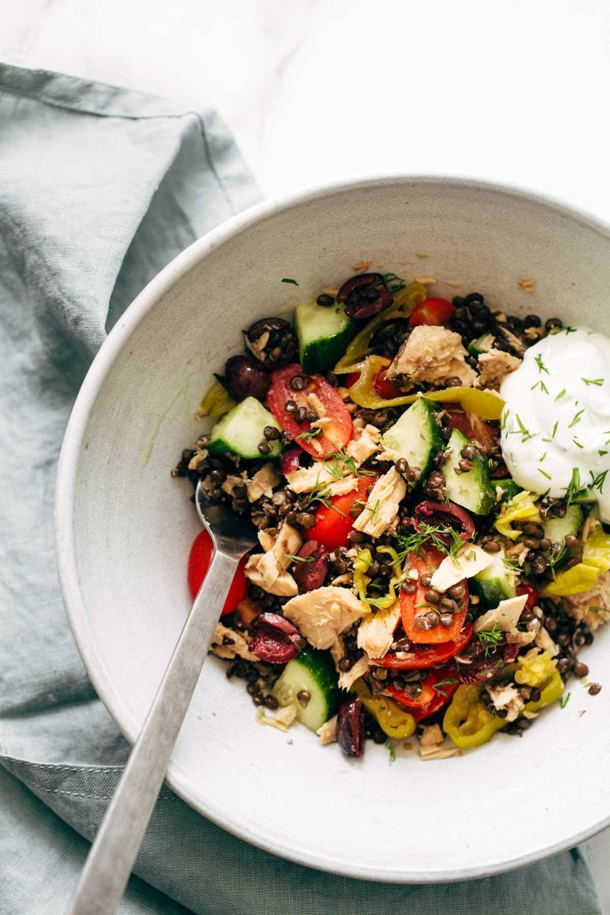 Lentil Greek Salad in a bowl.