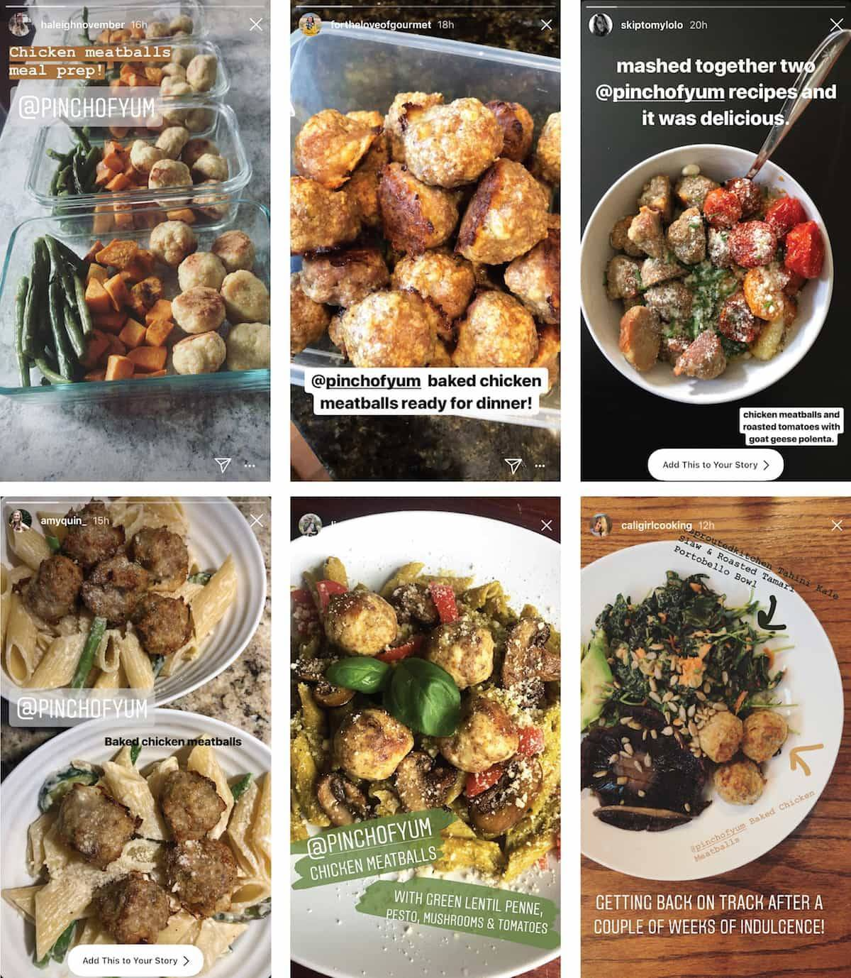 Collage of user generated content showing readers' images of baked chicken meatballs.