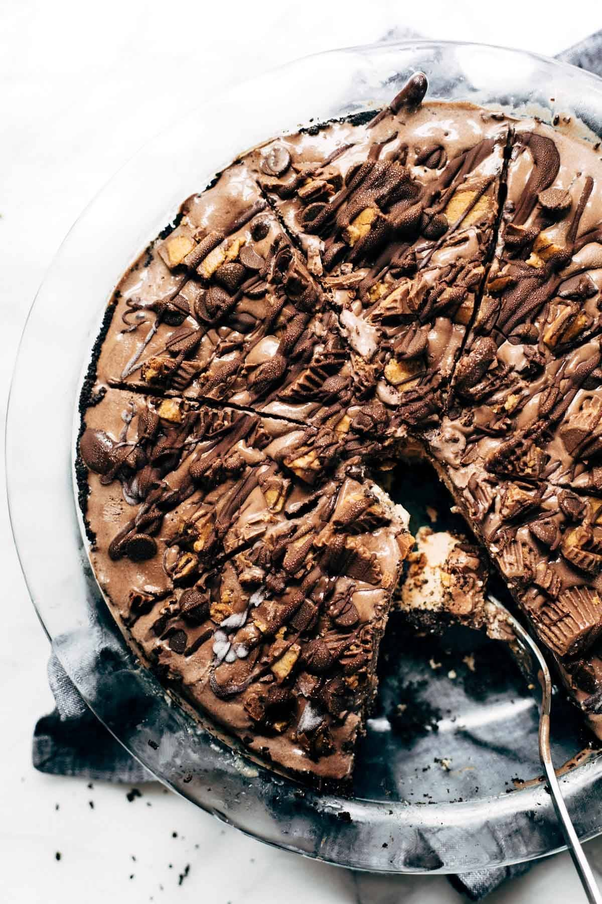 Mocha Peanut Butter Pie in a pie dish.
