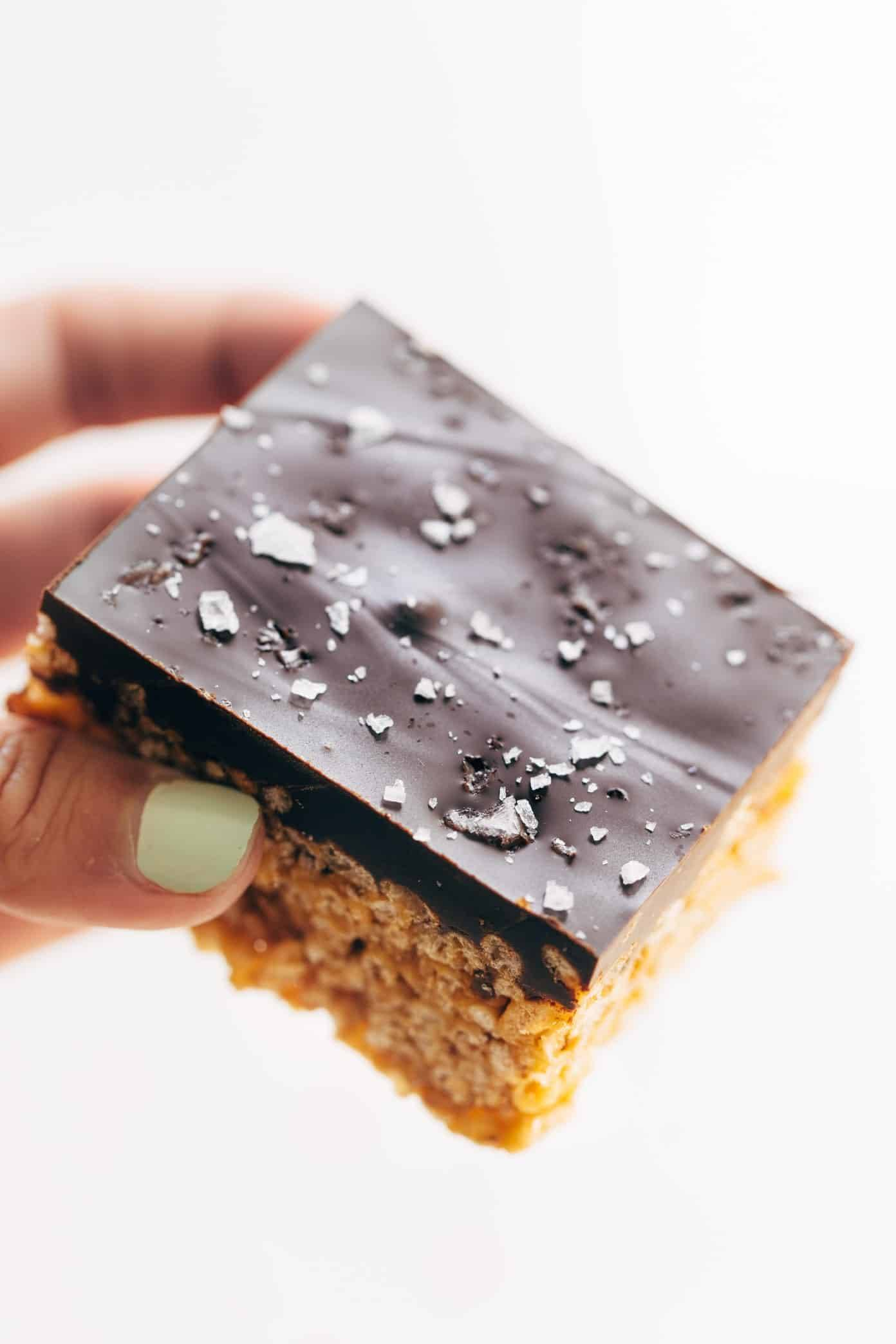 Chocolate-covered peanut butter rice krispie bar.