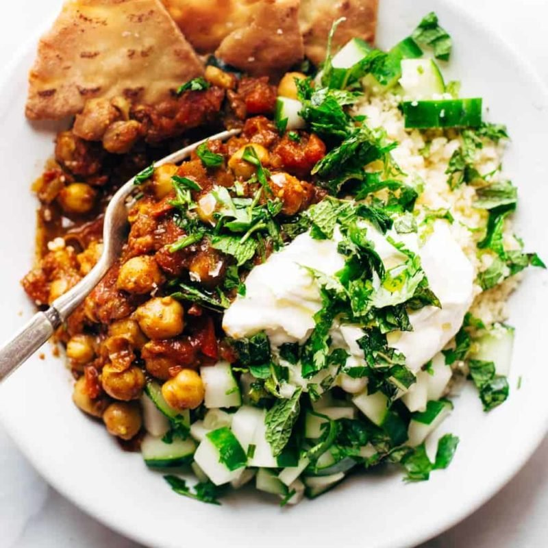 Moroccan Chickpeas in a bowl with couscous.