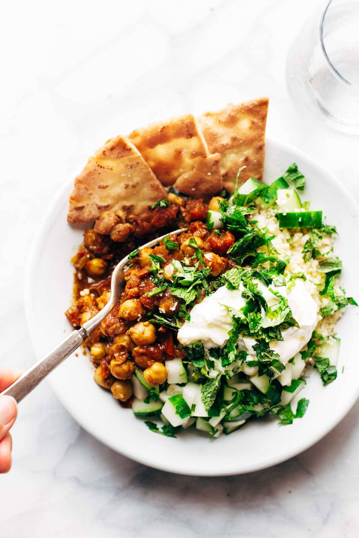 Detox Moroccan Chickpea Glow Bowl with a fork.