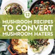 Mushroom recipes in a collage.