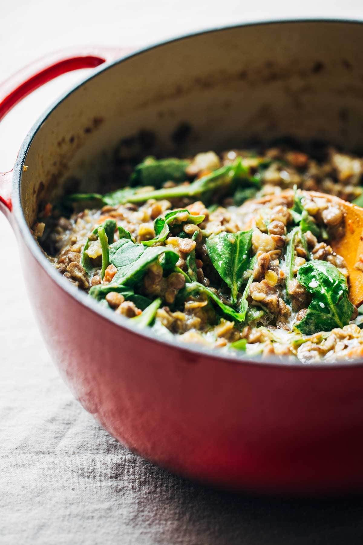 One-Pot Creamy Spinach Lentils.