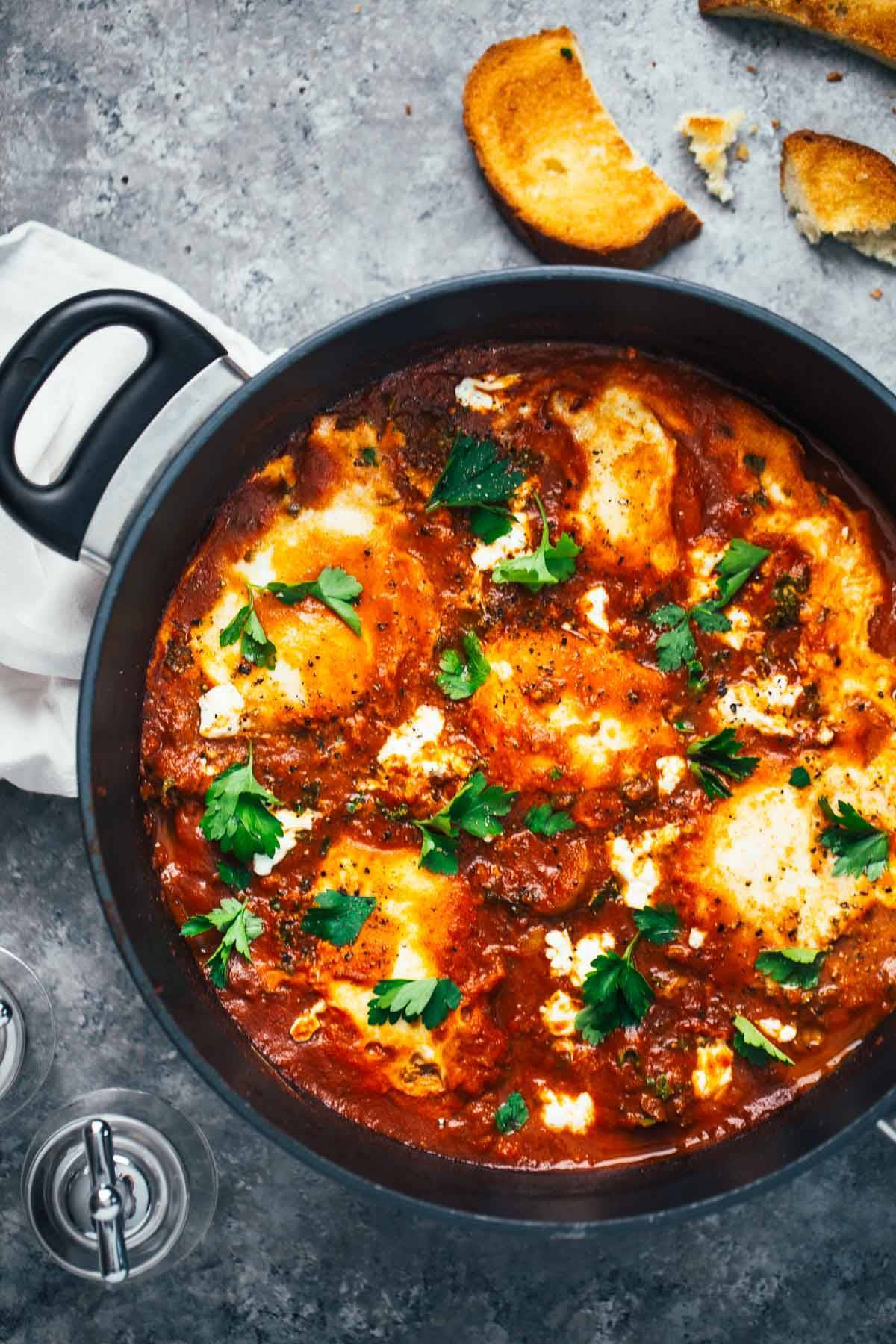 One Pot Spicy Eggs And Potatoes With Goat Cheese  A Simple Homemade Sauce  With Spicy