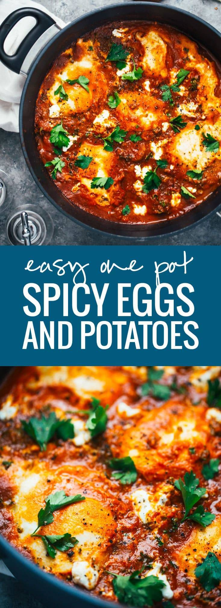 One Pot Spicy Eggs and Potatoes with Goat Cheese - a simple homemade sauce with spicy pan-fried potatoes, kale, creamy eggs, and goat cheese. DANG that's good! 350 calories.