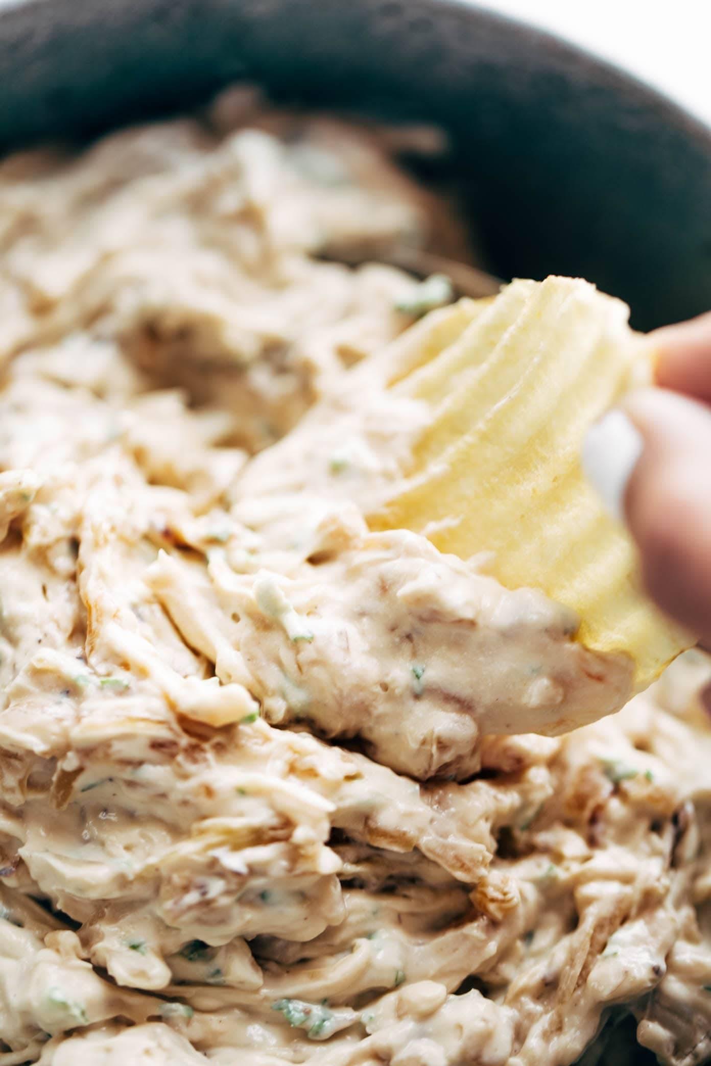 Caramelized Onion Dip - simple party goodness! | pinchofyum.com