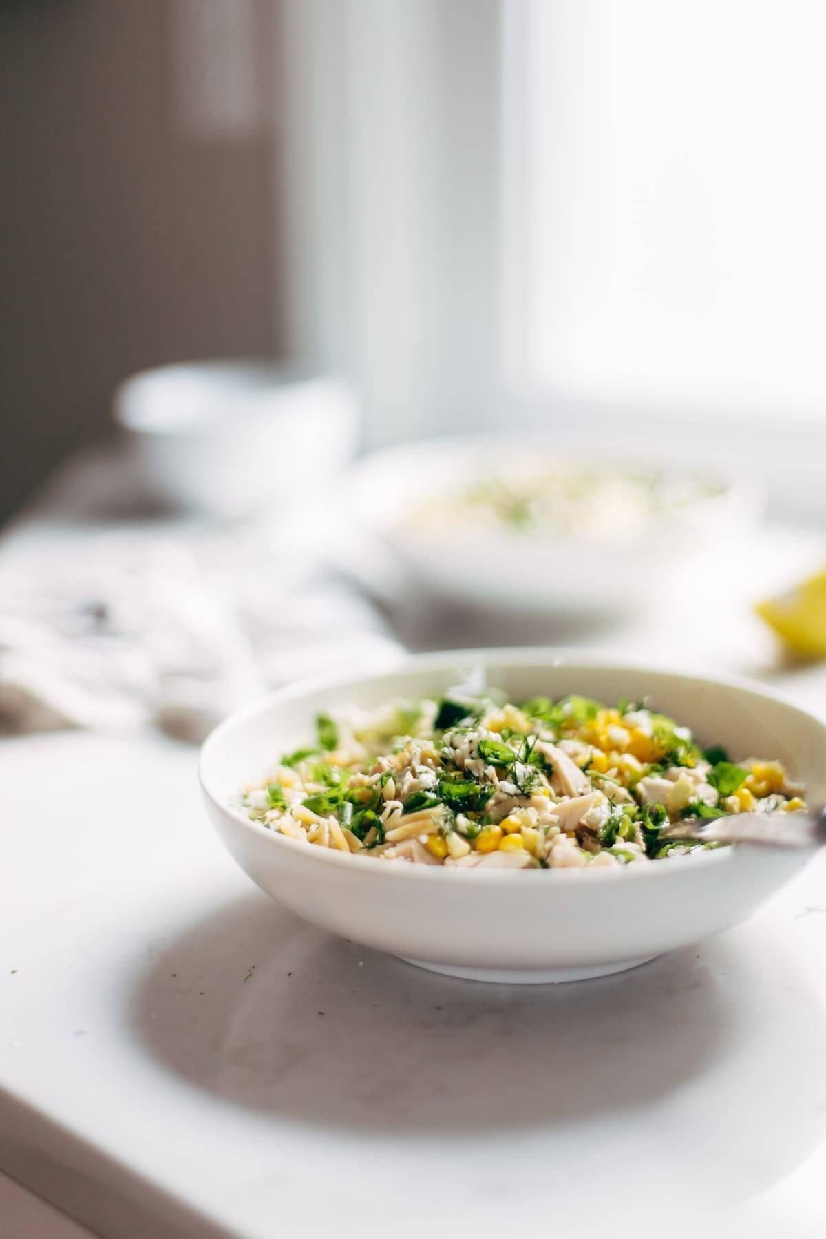 Bowl of Orzo Summer Salad