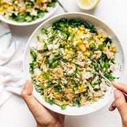 Hand holding Orzo Summer Salad in a bowl with fork.