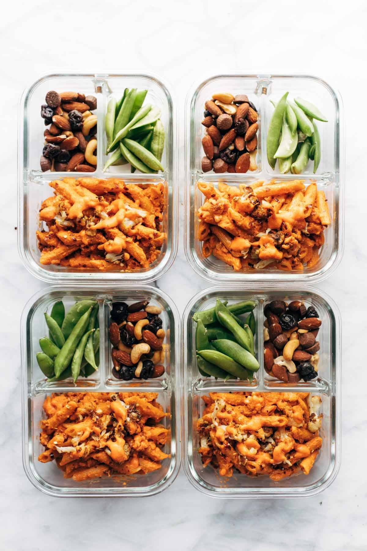 Red Pepper Cashew Pasta in meal prep containers.