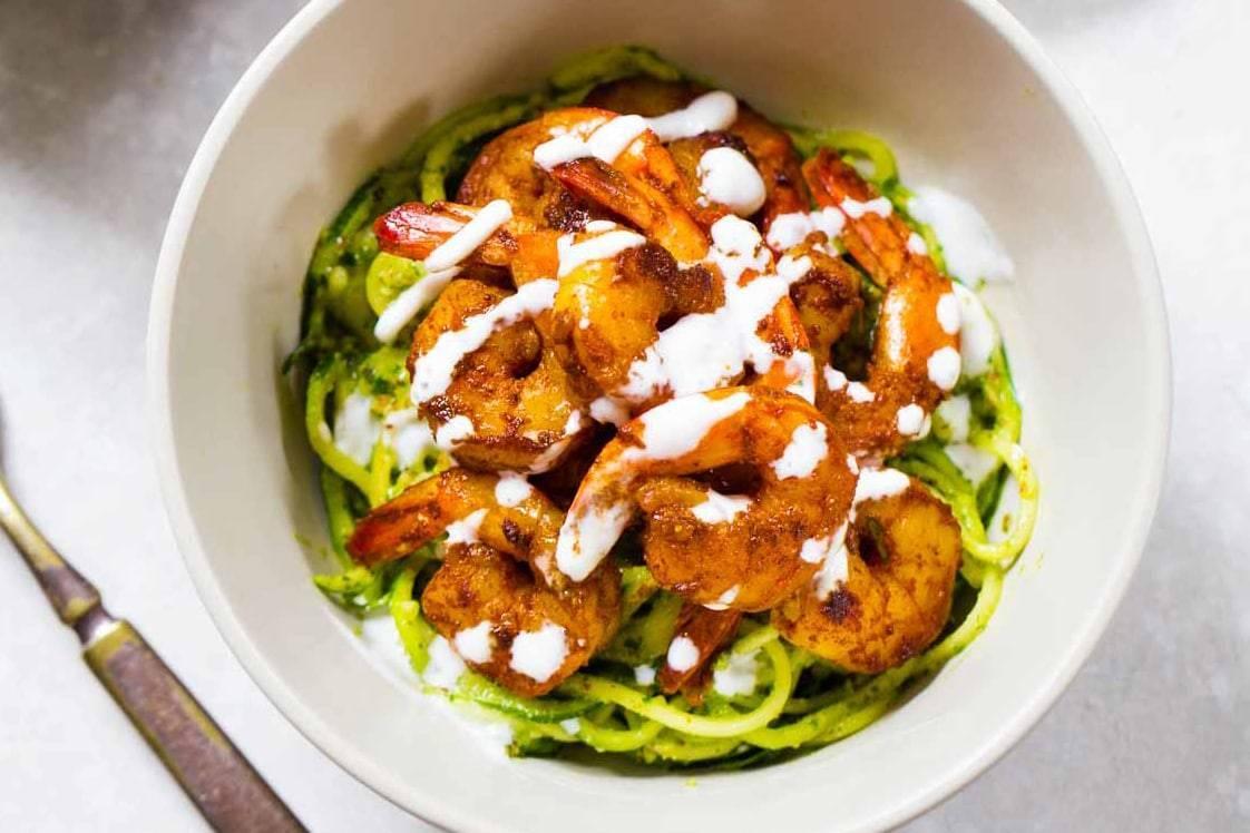 Pesto Noodles with Spicy Shrimp | pinchofyum.com