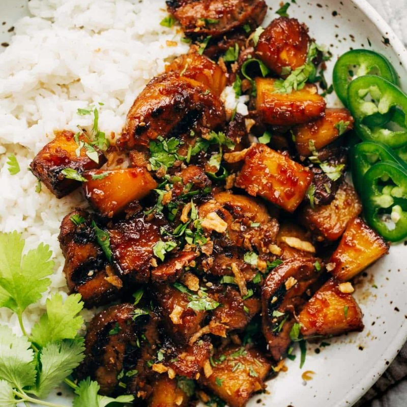 Pineapple pork with peppers and white rice.