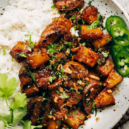 Pineapple Pork with Coconut Rice on a plate.