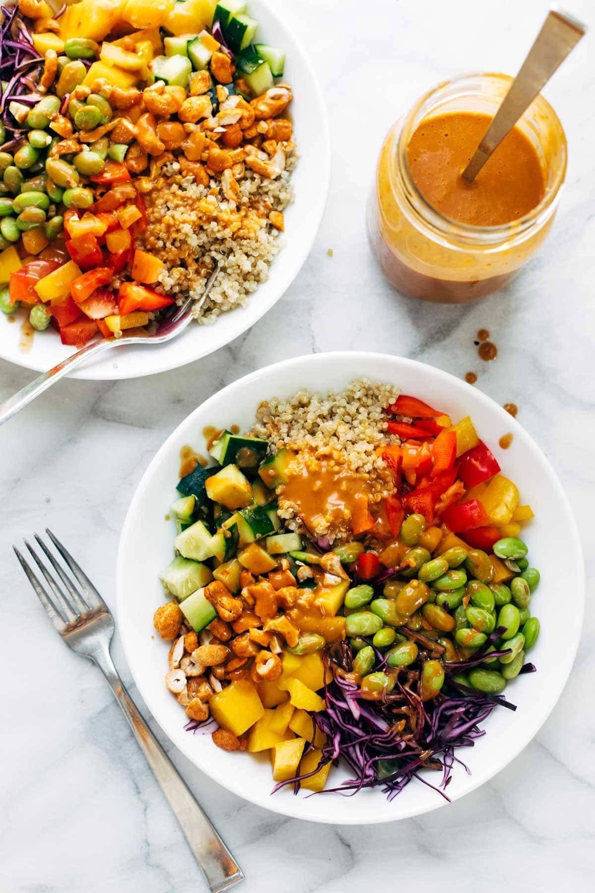 Quinoa Crunch Salad in bowls.