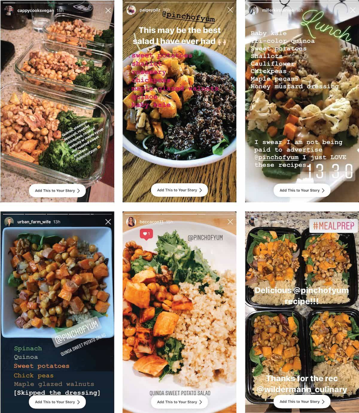 Quinoa sweet potato salad in bowls and trays.