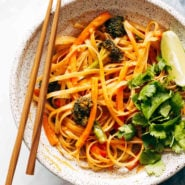 Red curry noodles in bowl.