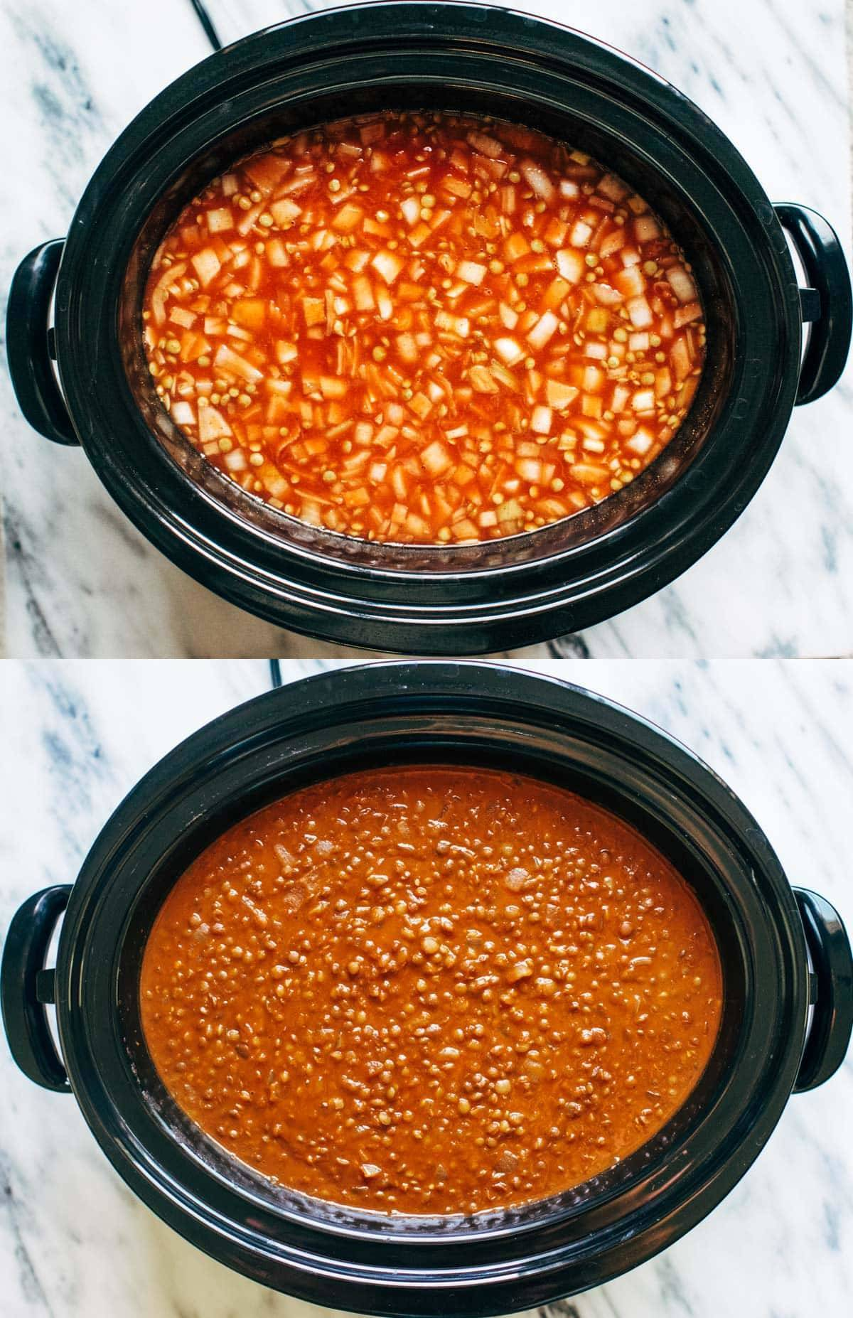 Red lentil curry in two images in a slow cooker.