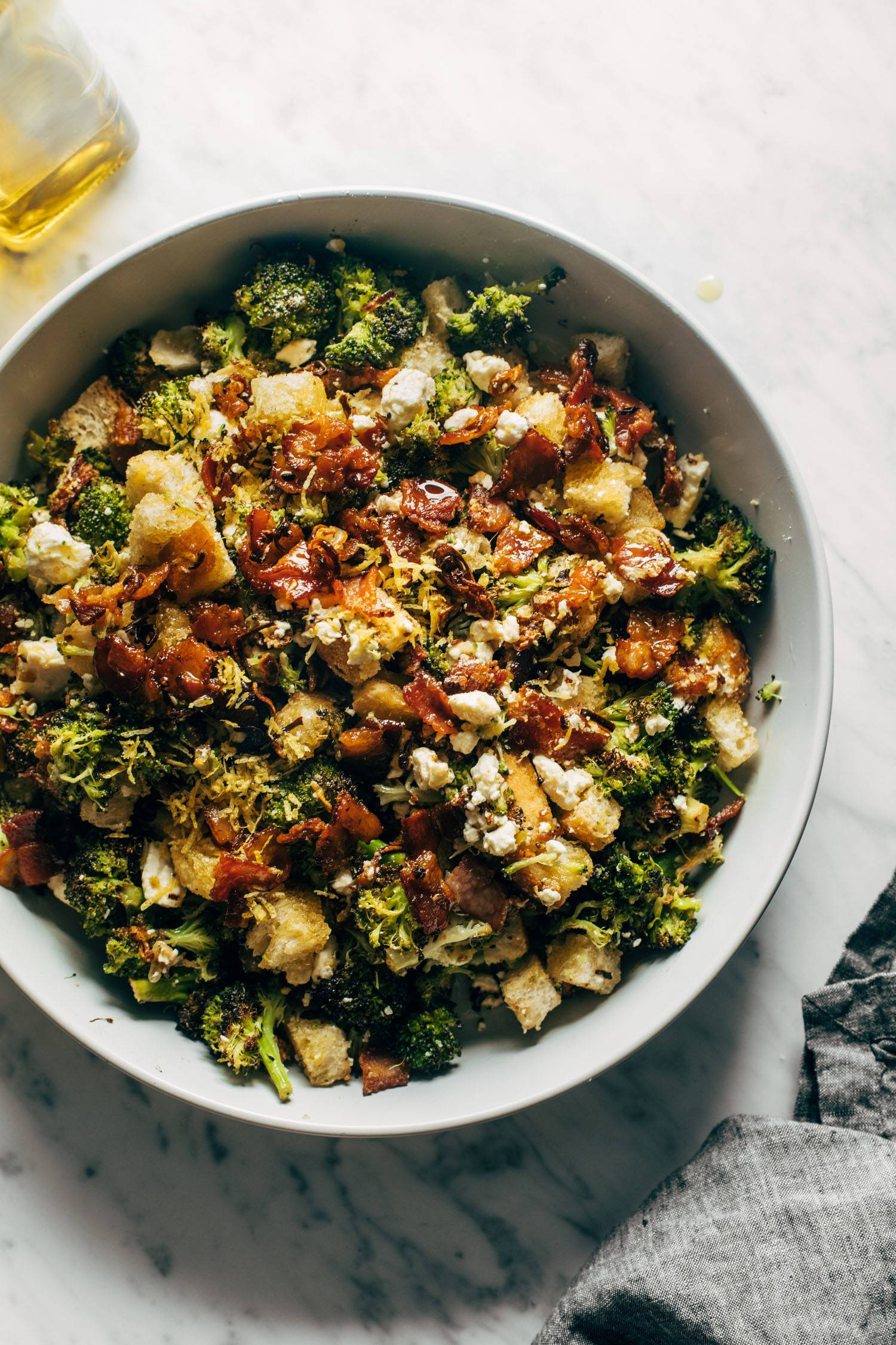 Roasted broccoli salad in a large bowl.