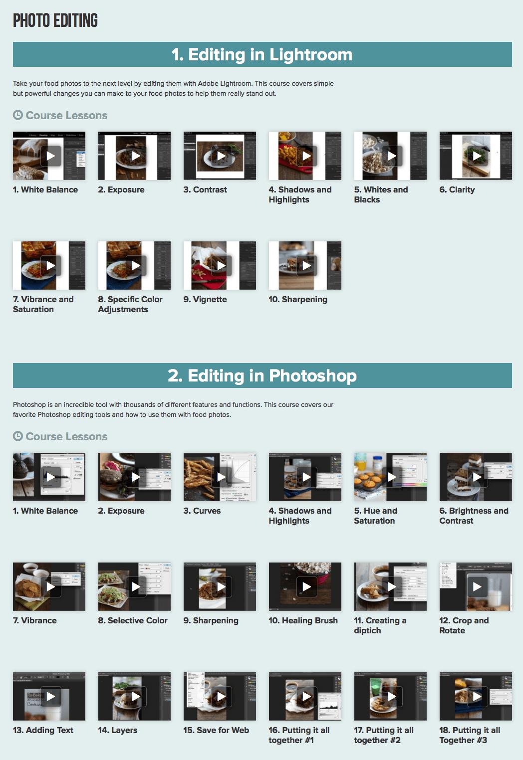 Photo editing page.