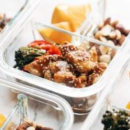 Sheet Pan Garlic Chicken and Broccoli in meal prep container.