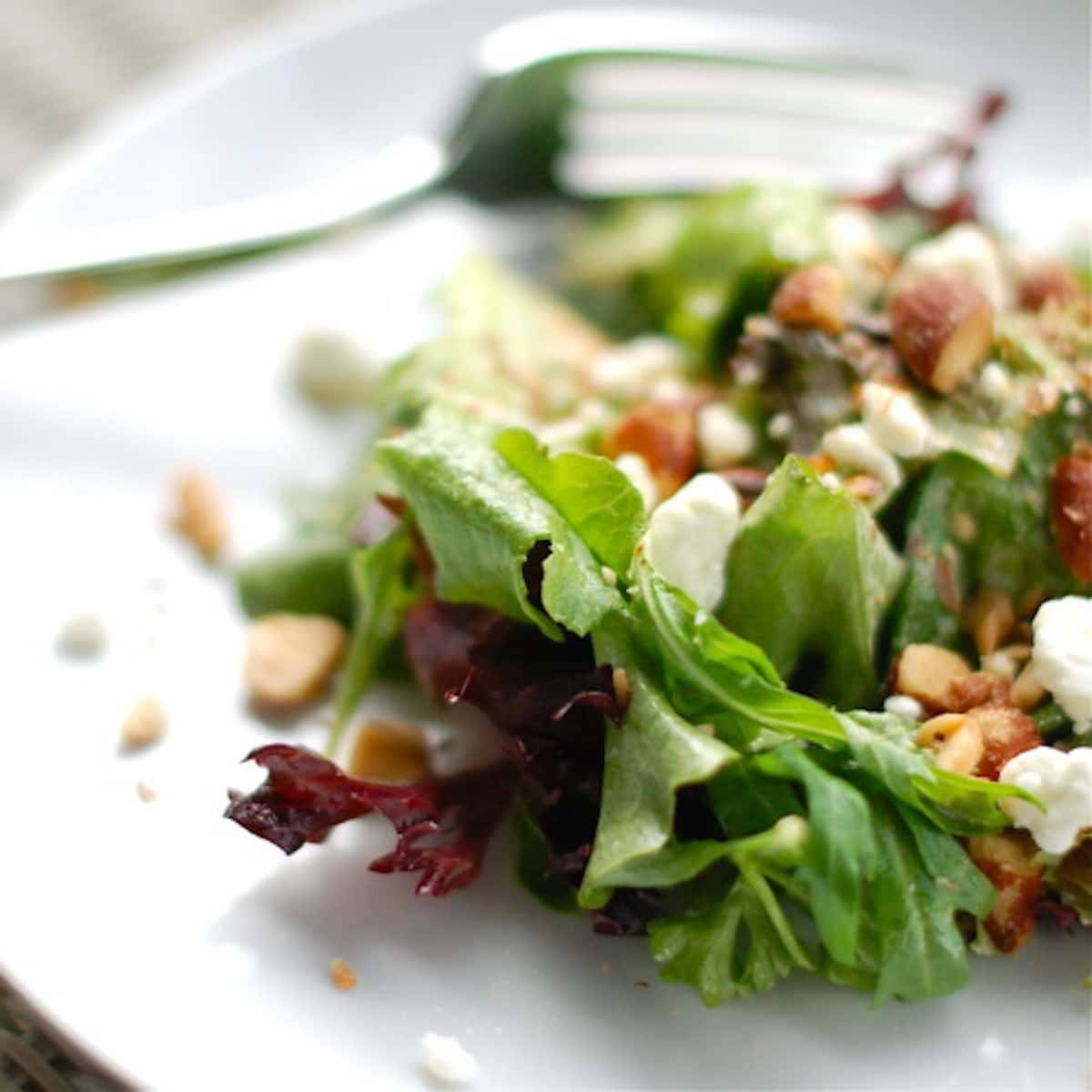 Smoked almond and goat cheese salad.