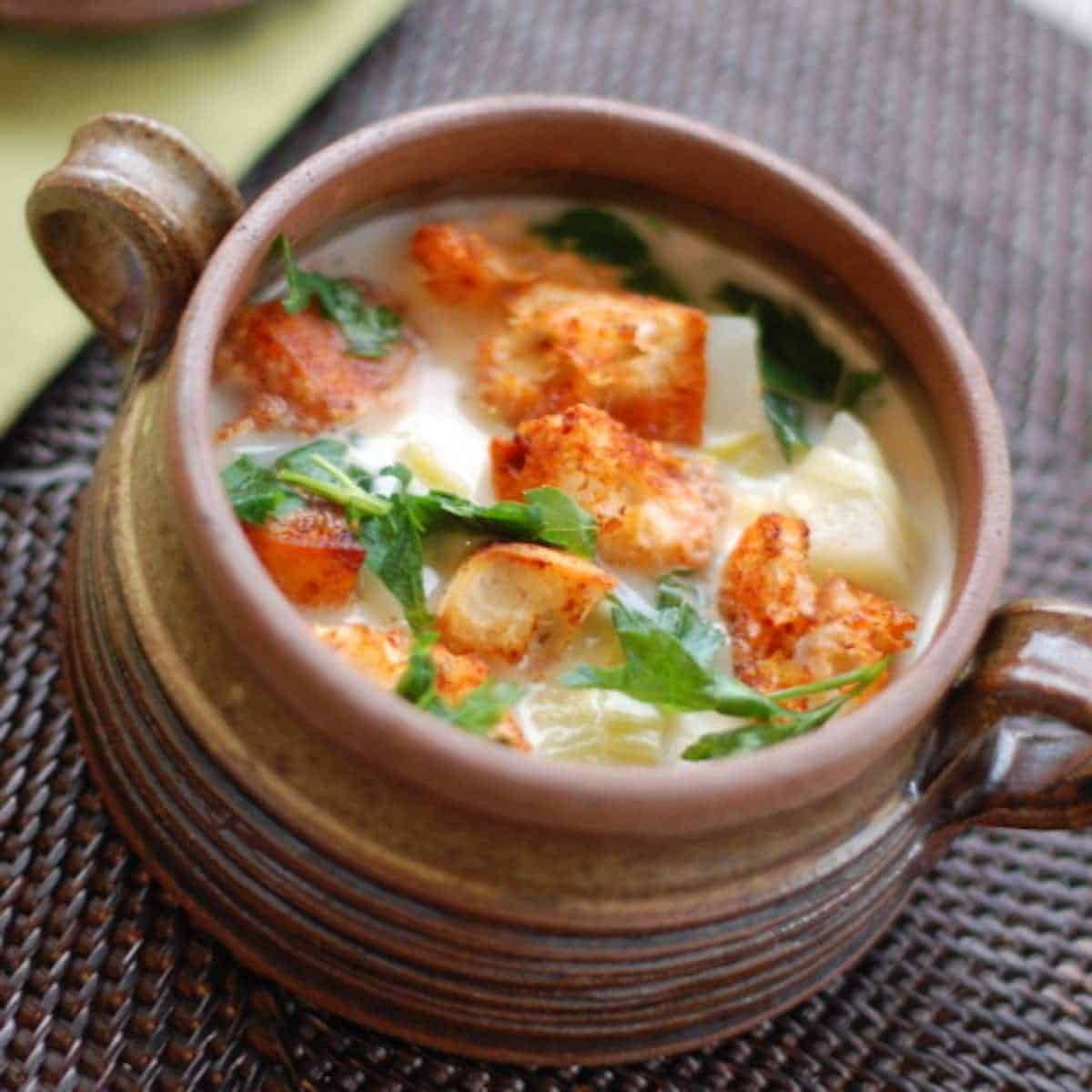 These smoky paprika croutons are easy to make and they are the perfect way to add something extra to your soups and salads. | pinchofyum.com
