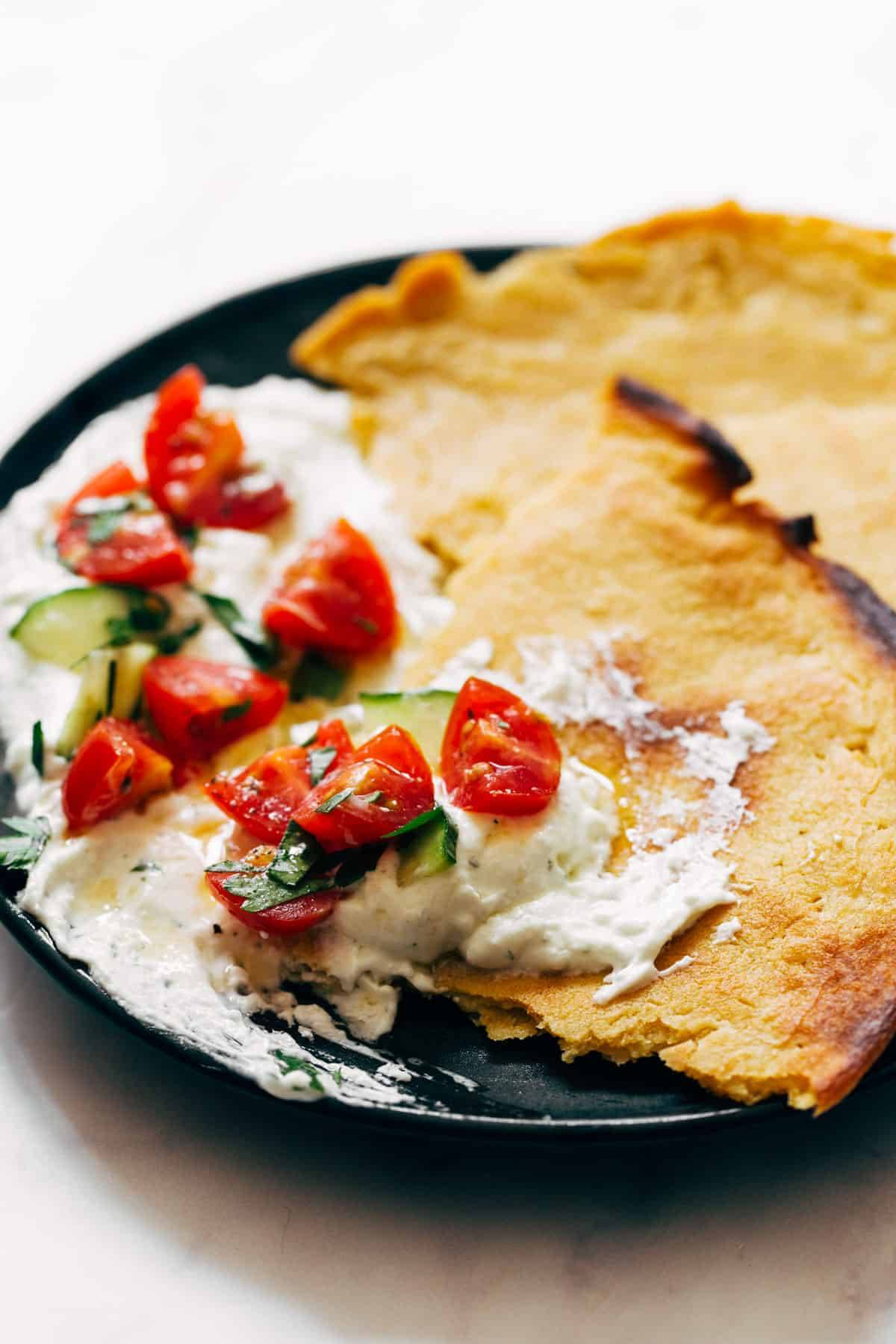 Socca with Whipped Feta and Tomato Salad