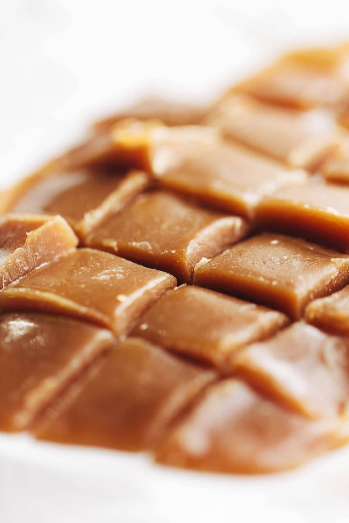 Closeup of salted caramel pieces.