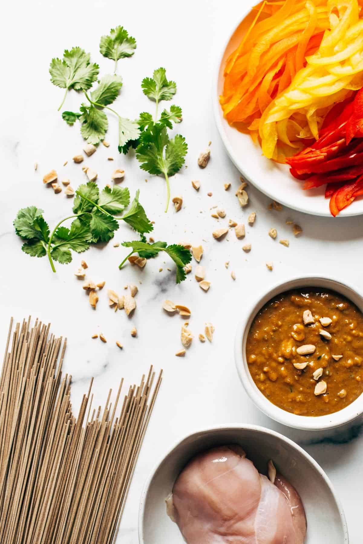 Ingredients for Spicy Peanut Soba Noodle Salad.