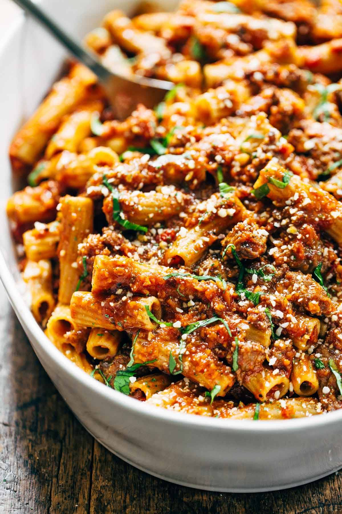 Spicy Sausage Rigatoni in a baking dish.