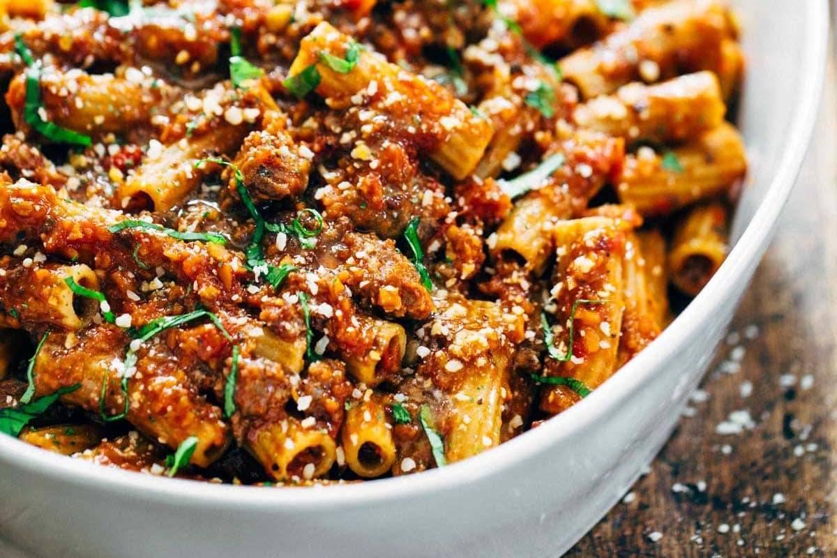 Spicy Sausage Rigatoni | pinchofyum.com