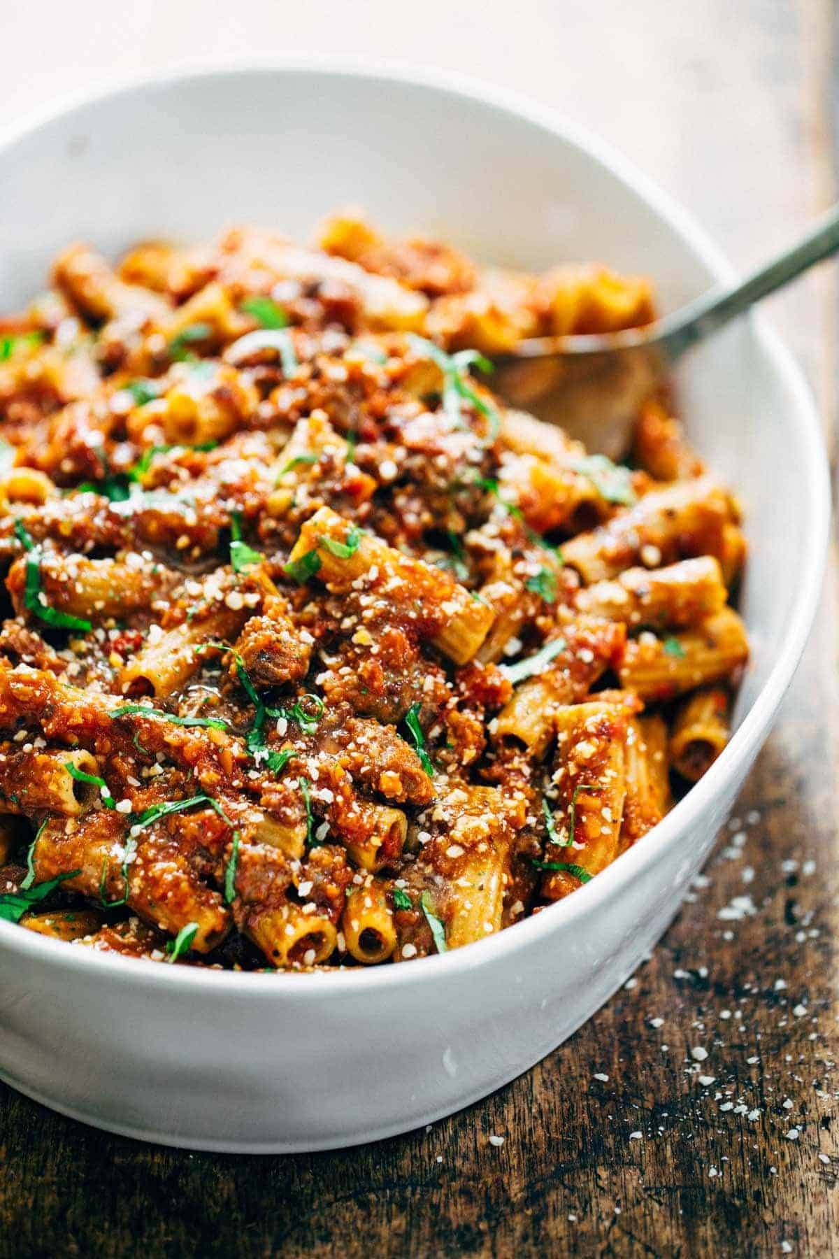 Spicy Sausage Rigatoni Recipe Pinch Of Yum