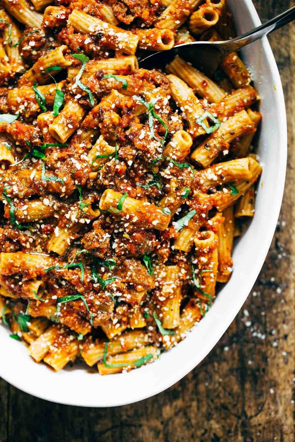 Spicy Sausage Rigatoni Recipe - Pinch of Yum