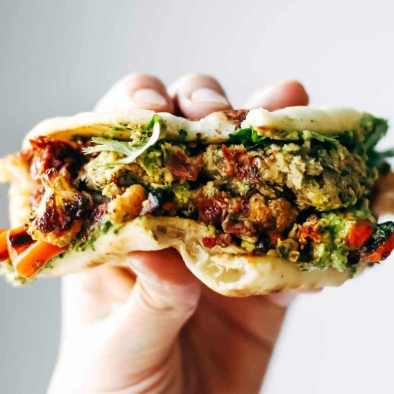 A picture of Spicy Falafel and Roasted Veggie Naan-wich