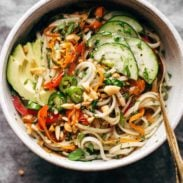 Spring Roll Bowls with fork.