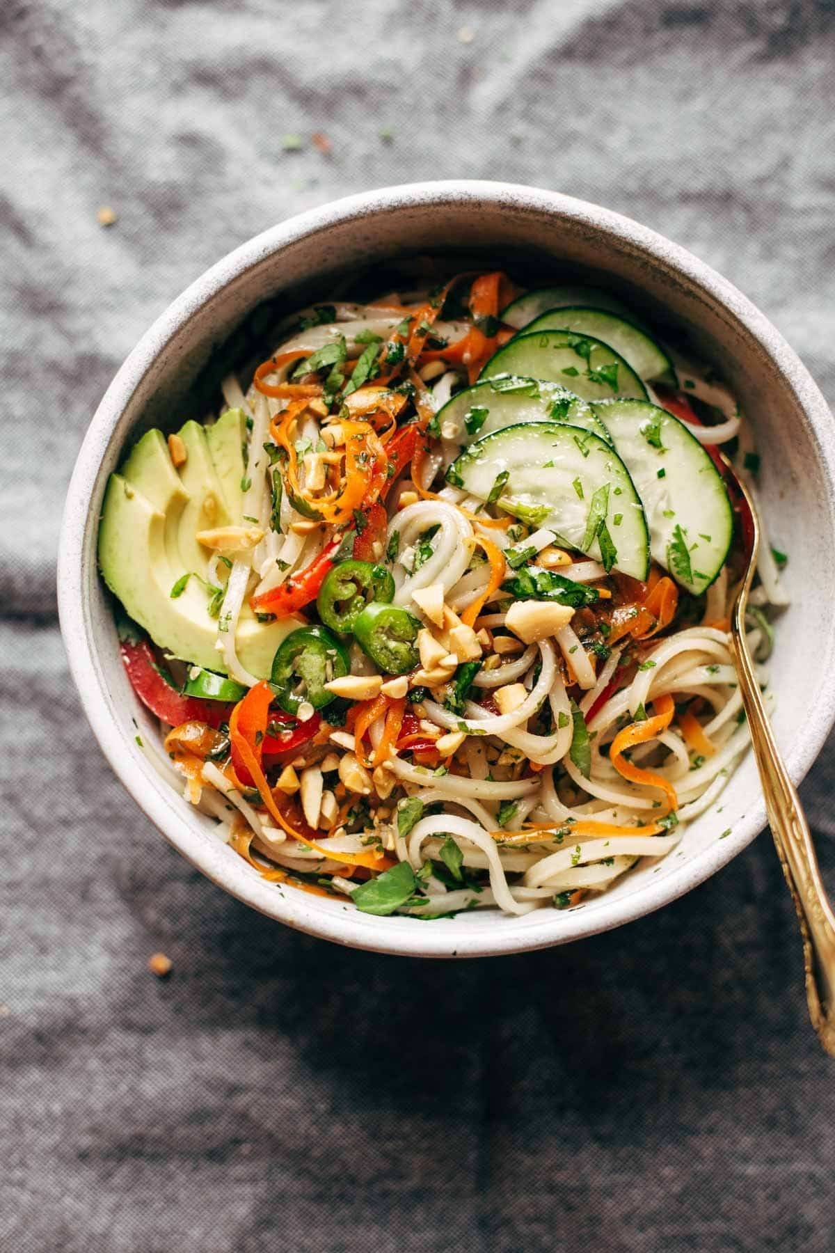 15 Super Bowl Recipes To Feel More Satisfied In Life - Spring Roll Bowls with Sweet Garlic Lime Sauce