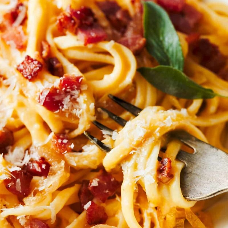 A picture of Creamy Squash Fettuccine with Caramelized Onion and Pancetta