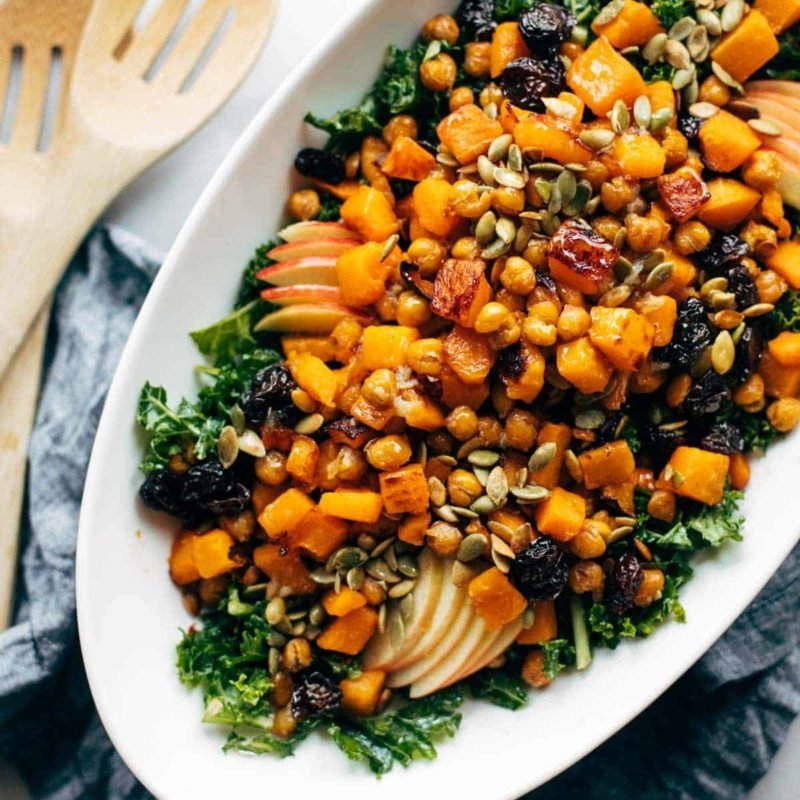 A picture of Squash Salad with Kale and Roasted Garlic Dressing